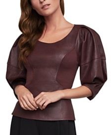 BCBGMAXAZRIA Faux-Leather Top