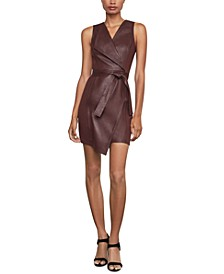 Faux-Leather Asymmetrical Sheath Dress
