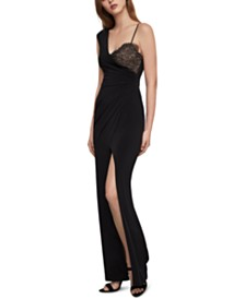 BCBGMAXAZRIA One-Shoulder Lace-Inset Gown
