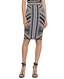 BCBGMAXAZRIA Geo-Print Knit Pencil Skirt