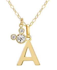 "Disney© Mickey Mouse Initial Pendant 18"" Necklace with Cubic Zirconia in 14k Yellow Gold"
