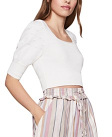 BCBGeneration Cropped Puff-Sleeve Sweater