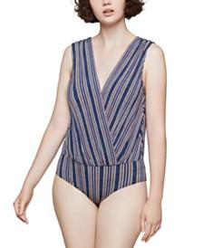 BCBGeneration Striped Open-Back Bodysuit