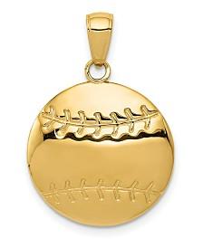 Baseball Charm in 14k Yellow Gold