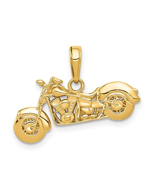 Macy's Motorcycle Pendant in 14k Yellow Gold