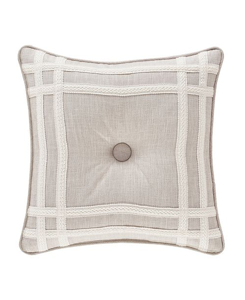 "J Queen New York Lauralynn Beige 18"" Square Decorative Throw Pillow"