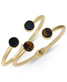 INC Gold-Tone 2-Pc. Set Jet & Tortoise-Look Stone Cuff Bracelets, Created For Macy's
