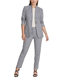 Petite Houndstooth Collarless Jacket & Fixed-Waist Skinny Pants