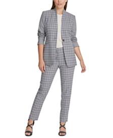 DKNY Petite Houndstooth Collarless Jacket & Fixed-Waist Skinny Pants