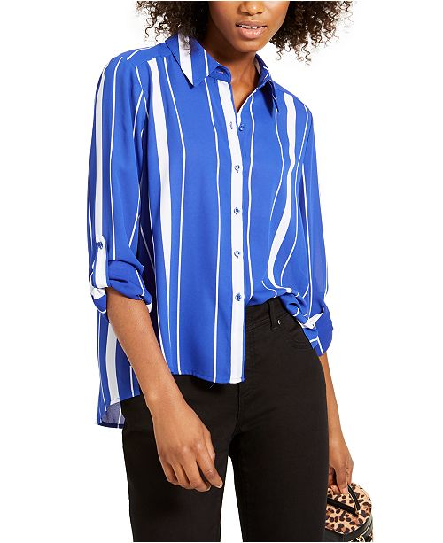 INC International Concepts INC Striped Button-Up Blouse, Created for Macy's