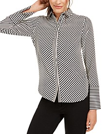 Plus Size Striped Slit-Cuff Blouse