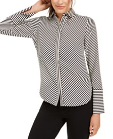 Anne Klein Asymmetrical Striped Shirt