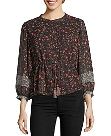 Cinched Waist Printed Blouse