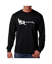 Men's Word Art Long Sleeve T-Shirt- Metal Head Guitar