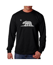 LA Pop Art Men's Word Art Long Sleeve T-Shirt- California Bear