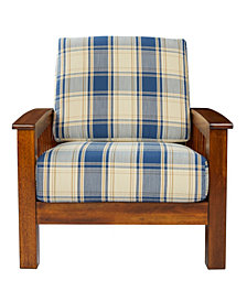 Handy Living Maison Hill Mission Style Arm Chair with Exposed Wood Frame