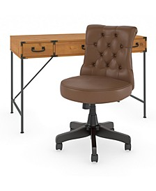 Ironworks Writing Desk with Mid Back Tufted Office Chair