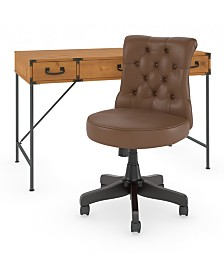 Kathy Ireland Home by Bush Furniture Ironworks Writing Desk with Mid Back Tufted Office Chair