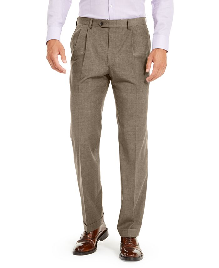 Lauren Ralph Lauren - Men's Wool Blend Classic-Fit UltraFlex Stretch Double-Reverse Pleated Dress Pants