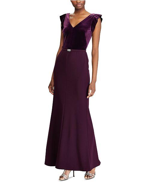 Lauren Ralph Lauren Velvet Bodice Gown