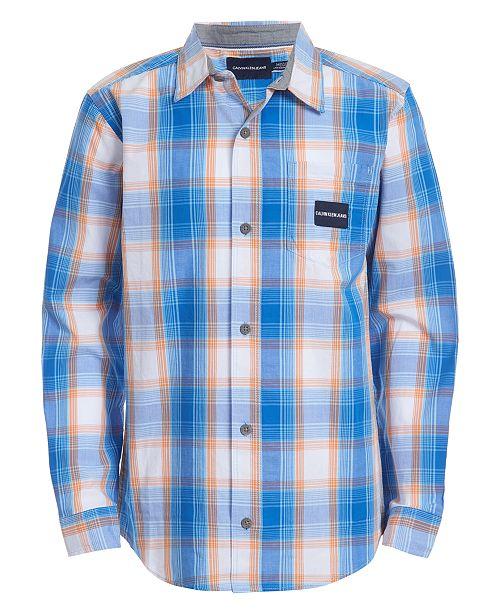 Calvin Klein Big Boys Gridscape Plaid Shirt