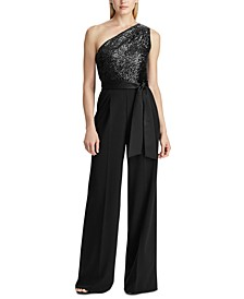 Sequined-Bodice One-Shoulder Jumpsuit