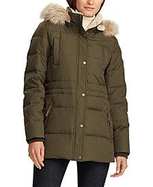 Lauren Ralph Lauren Faux-Fur-Trim Hooded Down Jacket, Created for Macy's