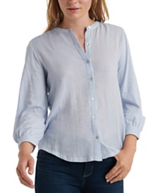 Lucky Brand Cotton Button-Front Peasant Top