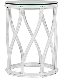 Madison Rattan Indoor End Table with Glass