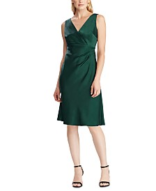 Lauren Ralph Lauren Satin Cocktail Dress, Created For Macy's