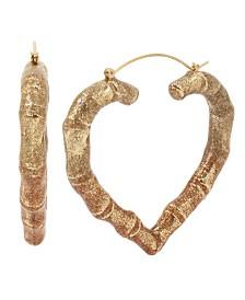 """Betsey Johnson Large Aqua Ombre Heart Hoop Earrings 2-1/2"""""""