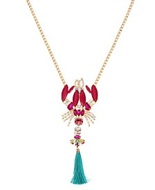 Betsey Johnson Lobster Pendant Long Necklace