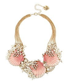 Betsey Johnson Mermaid Ombre Sea Shell & Pearl Statement Frontal Necklace