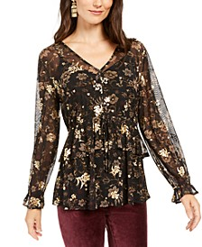 Petite Floral-Print Ruffle Mesh Top, Created For Macy's