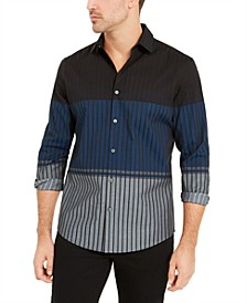 Men's Classic-Fit Colorblocked Ombré Stripe Shirt, Created For Macy's