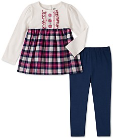 Kids Headquarters Toddler Girls 2-Pc. Plaid Flannel Tunic & Leggings Set