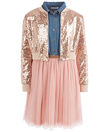 Big Girls 2-Pc. Sequined Bomber Jacket & Ballerina Dress