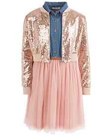 Beautees Big Girls 2-Pc. Sequined Bomber Jacket & Ballerina Dress