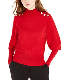 Juniors' Buttoned Turtleneck Sweater