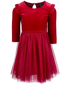 Little Girls Velvet & Sparkle Mesh Dress