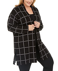 Plus Size Grid Sweater Coat