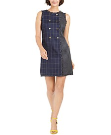 Mixed-Plaid Sheath Dress