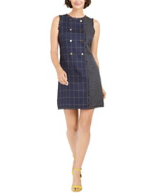julia jordan Mixed-Plaid Sheath Dress