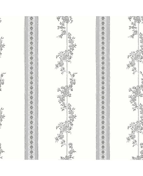 "Wall Vision 21"" x 396"" Drottningholm Floral Stripe Wallpaper"