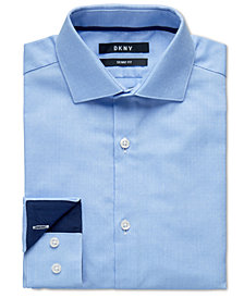 DKNY Big Boys Skinny-Fit Light Blue Dot Dress Shirt