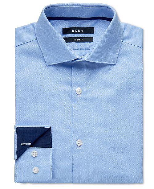 DKNY Big Boys Skinny-Fit Light Blue Dot Dress Shirt