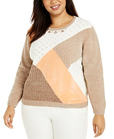 Plus Size First Frost Colorblocked Sweater