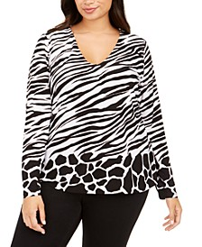 INC Plus Size Animal-Print V-Neck Top, Created For Macy's