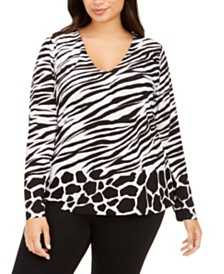 I.N.C. Plus Size Animal-Print V-Neck Top, Created For Macy's