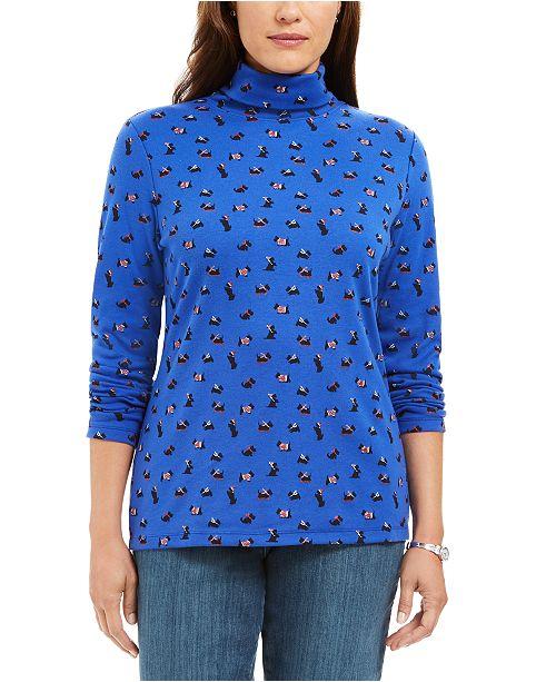 Karen Scott Long Sleeve Turtleneck Printed Top, Created for Macy's